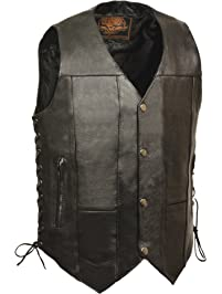 Milwaukee Leather SH1391-42-BLACK Men's 10 Pocket Side Lace Vest w/Dual Inside Concealed Weapon Gun Pockets (42)