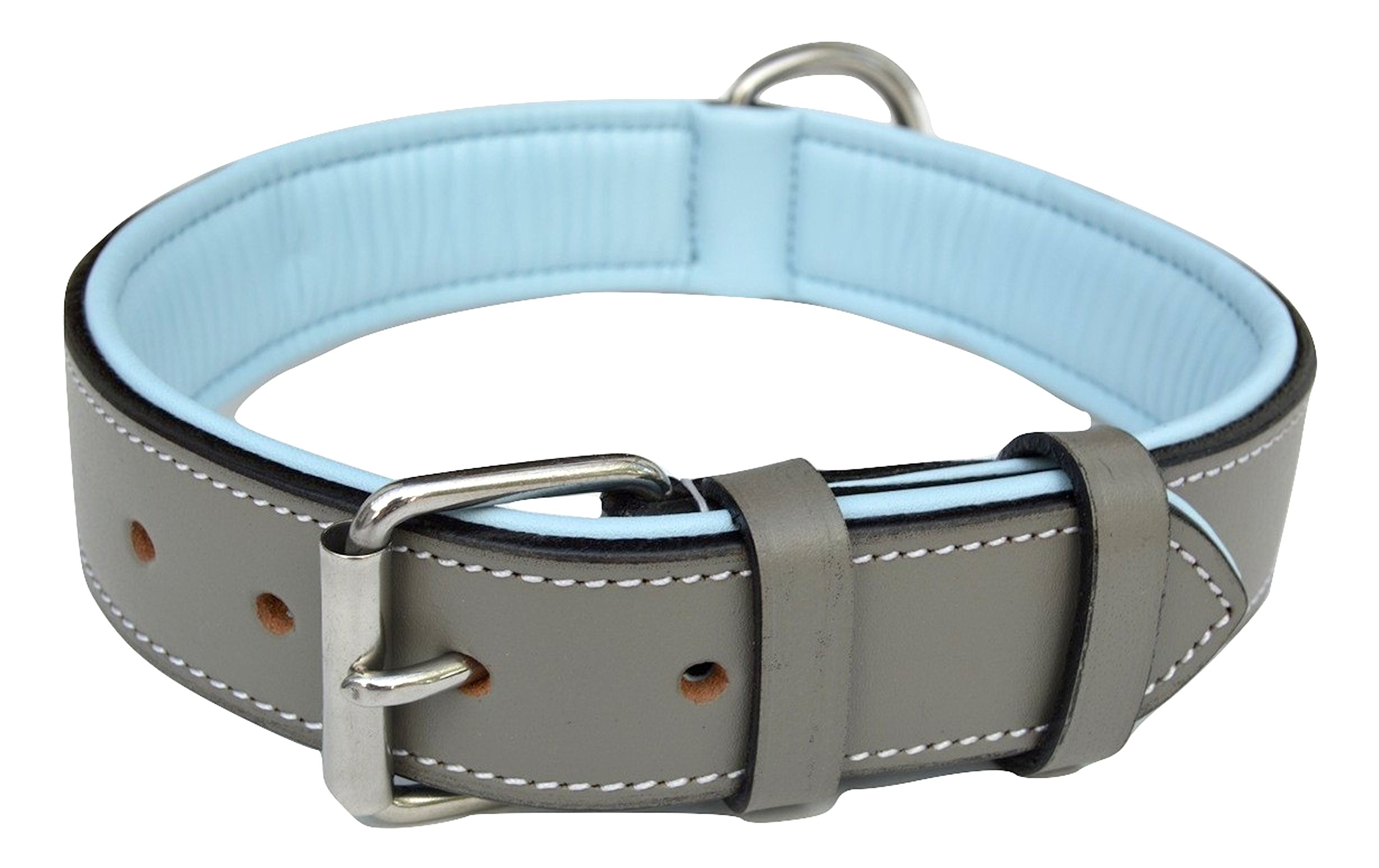 Soft Touch Collars Padded Leather Dog Collar, Gray and Blue, Size Large, Genuine Real Full Grain Leather