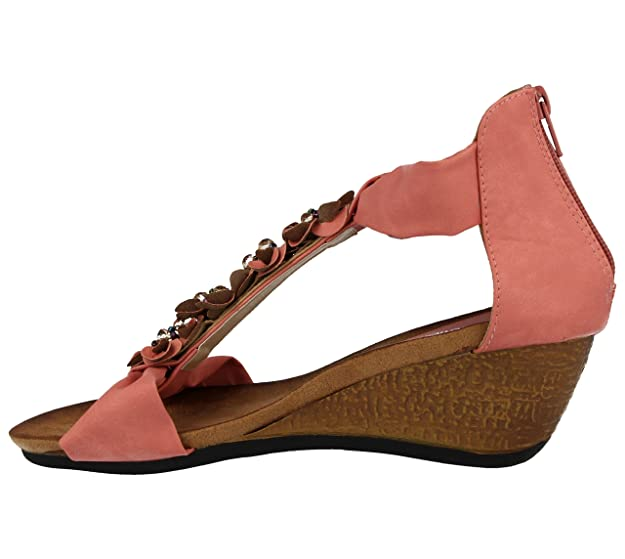 313fbf7a283c Intuition Collection Ladies Faux Leather Look Fashion T-Bar Flower Bead Mid  Wedge Sandal Shoe Size 3-8  Amazon.co.uk  Shoes   Bags