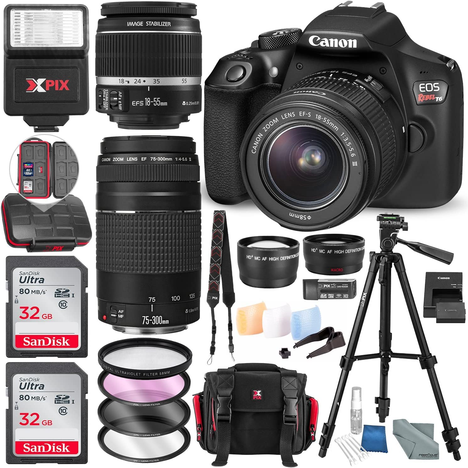 Canon EOS Rebel T6 DSLR Camera W/EF-S 18-55mm f/3.5-5.6 is II Lens - 75-300mm Lens, 2X 32GB Along with Deluxe Accessories Bundle