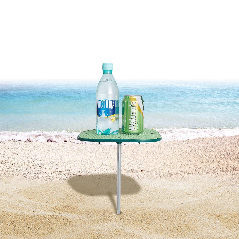 f/ácil de Llevar y almacenar WEJOY Mesa de Playa port/átil al Aire Libre con Superficie Antideslizante previene derrames y resbalones