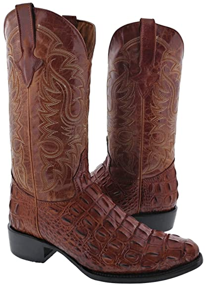 Texas Legacy - Men's Brown Crocodile Back Cut Print Leather Cowboy Boots J Toe