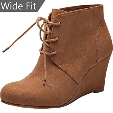 Women s Wide Width Wedge Boots - Lace Up Low Heeled Ankle Booties w Round  Closed 0fc57e8b32