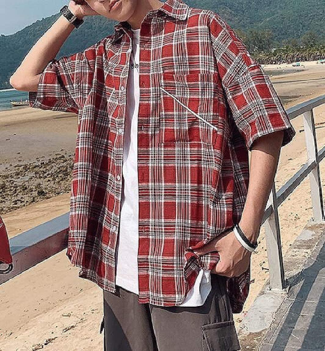 Jmwss QD Mens Plaid Shirts Lapel Short Sleeve Button Down Shirt Loose Fit Shirt