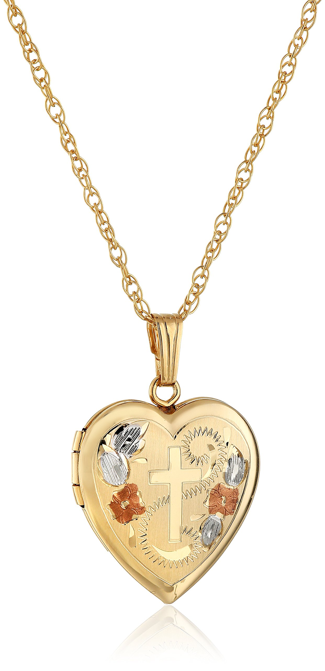 14k Yellow Gold-Filled Engraved Cross Heart Locket, 18''