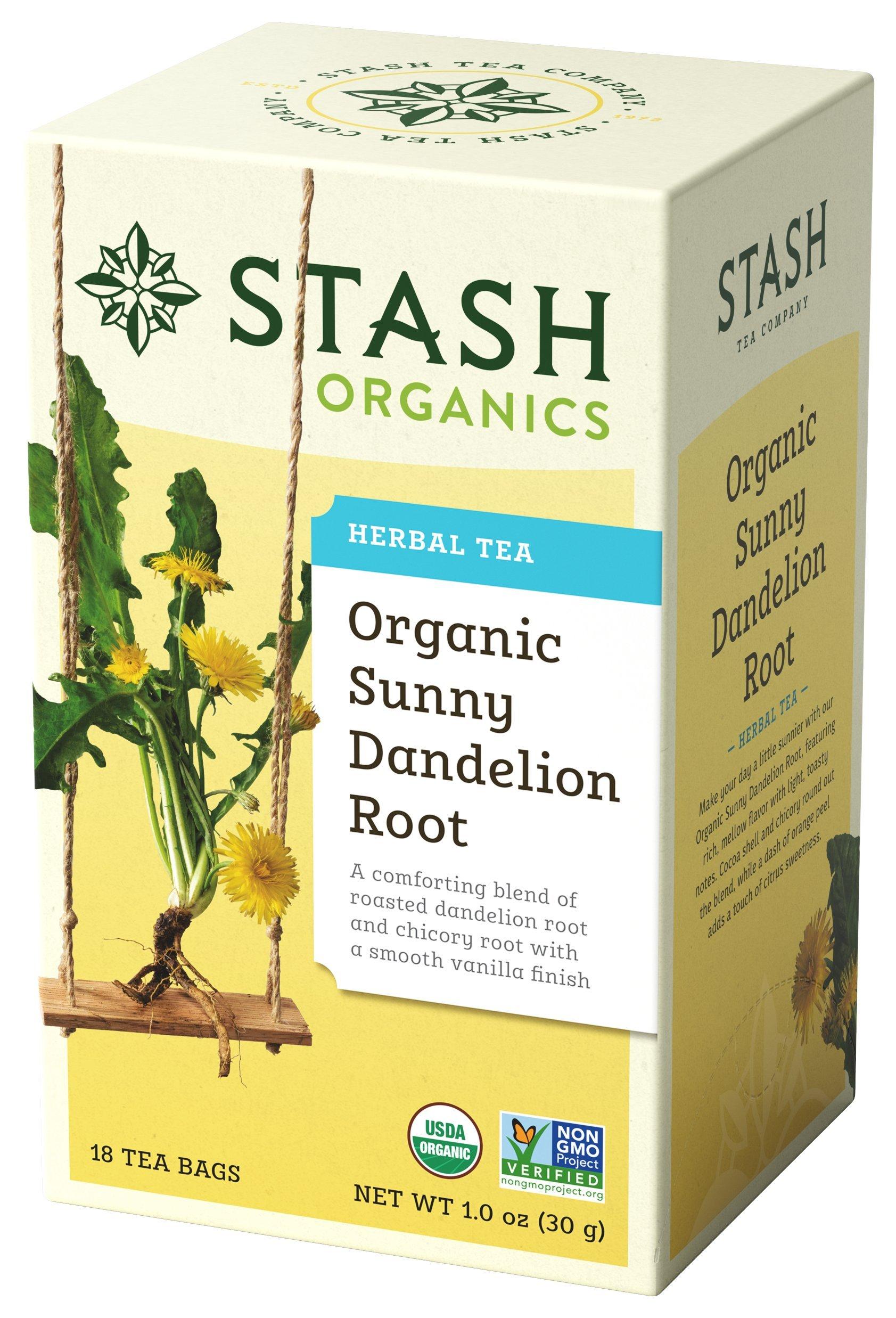 Stash Tea Organic Sunny Dandelion Root Tea 18 Count Box of Tea Bags in Foil (Pack of 6)