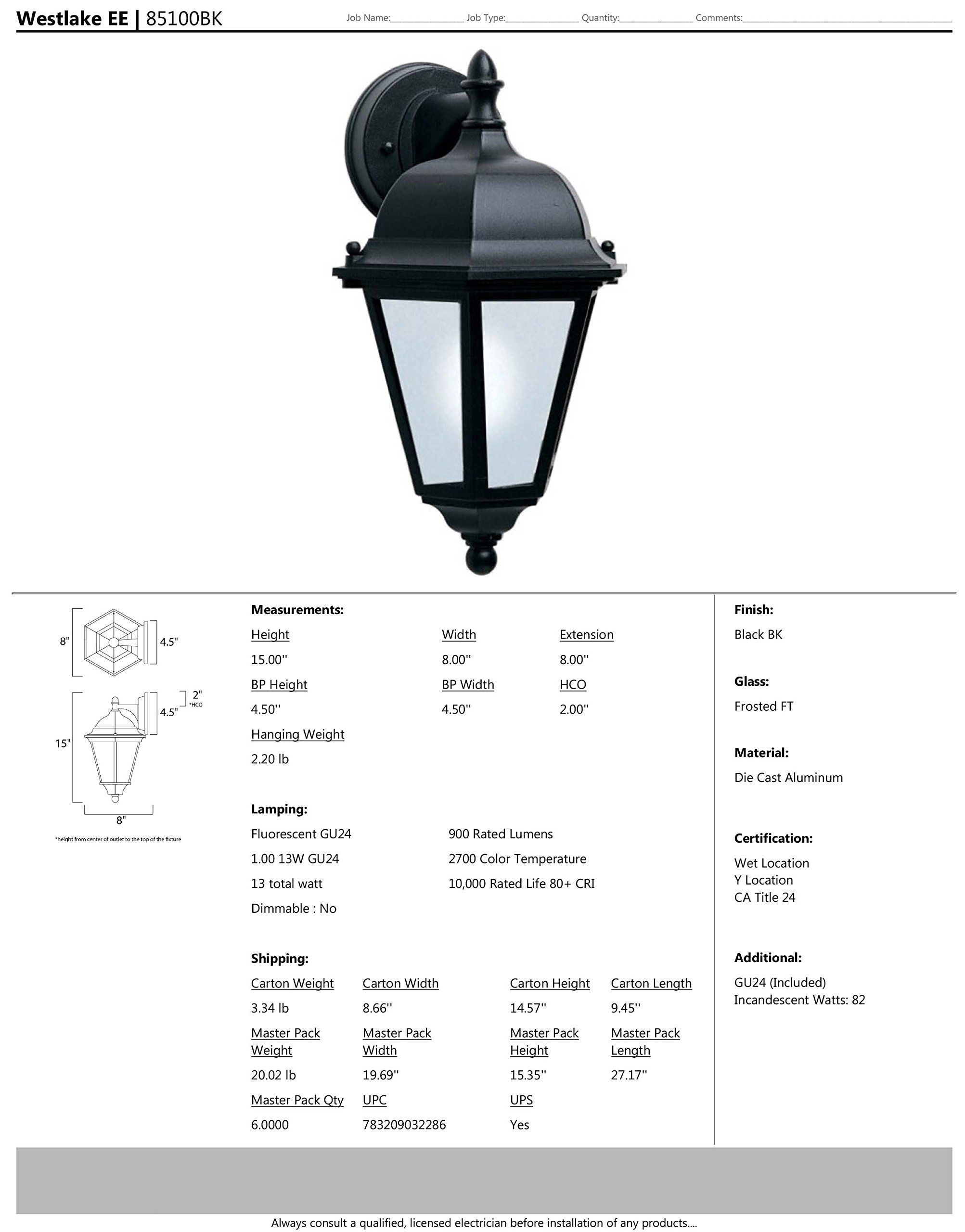Maxim 85100BK Westlake EE 1-Light Outdoor Wall Lantern, Black Finish, Frosted Glass, GU24 Fluorescent Fluorescent Bulb , 60W Max., Wet Safety Rating, Standard Dimmable, Glass Shade Material, 1344 Rated Lumens