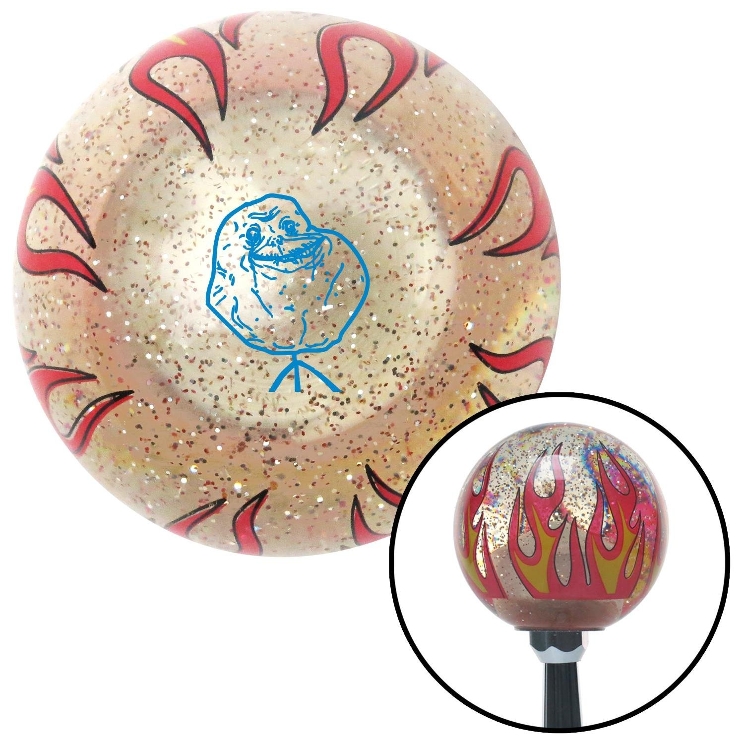 American Shifter 295374 Shift Knob Blue Forever Alone Clear Flame Metal Flake with M16 x 1.5 Insert