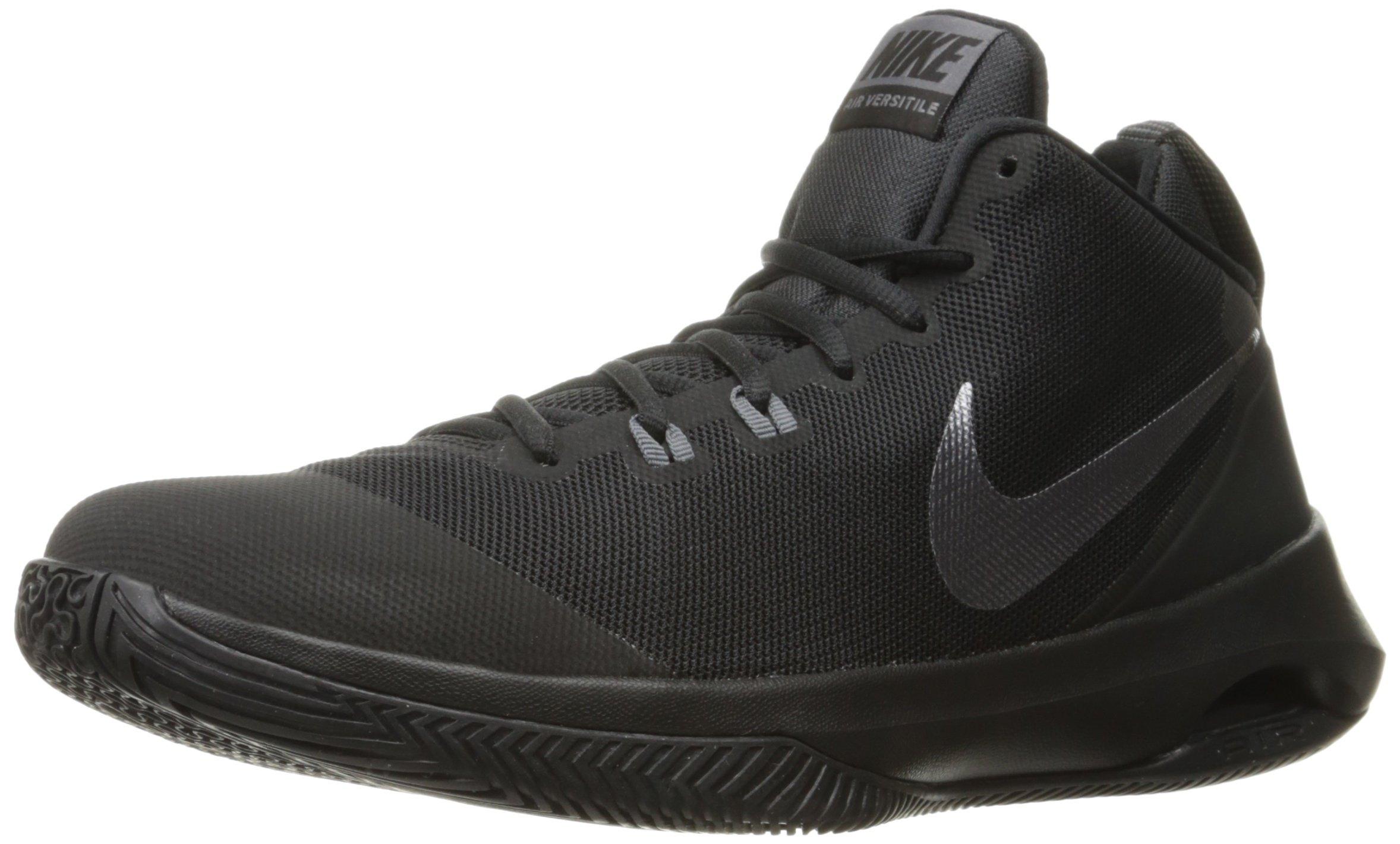 NIKE Men's Air Versitile Nubuck Basketball Shoe, Black/Metallic Dark Grey/Dark Grey, 10 D(M) US by Nike