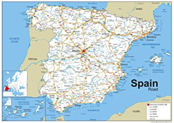 Moron Spain Map.Spain Road Map Paper Laminated A0 Size 84 1 X 118 9 Cm Amazon