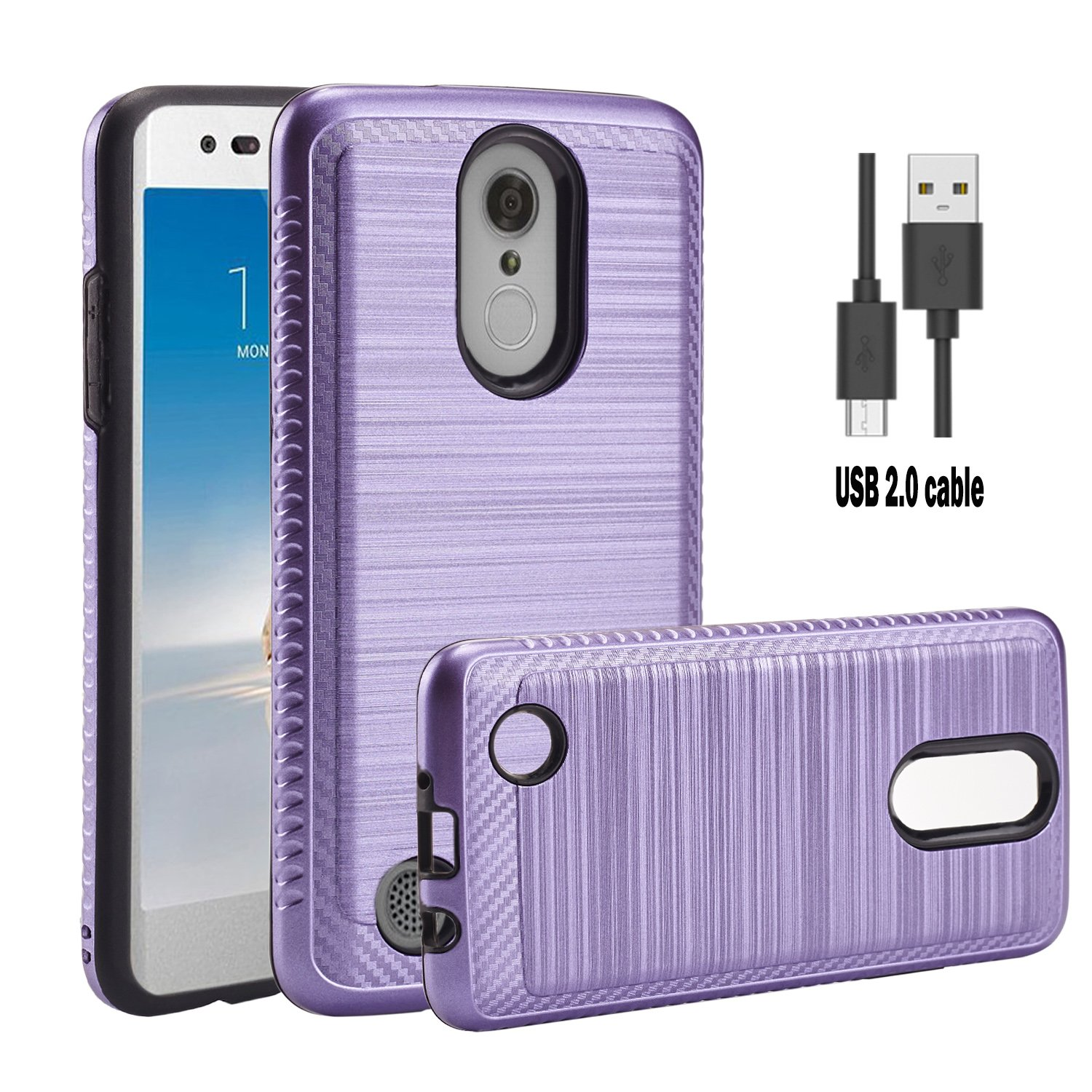 LG Aristo case,LG M210 case,LG MS210/LG Phoenix 3/LG Risio 2/LG Rebel 2  LTE/LG Fortune/LG K8 2017 Case With Micro USB 2 0 Cable,Wtiaw [TPU+PC
