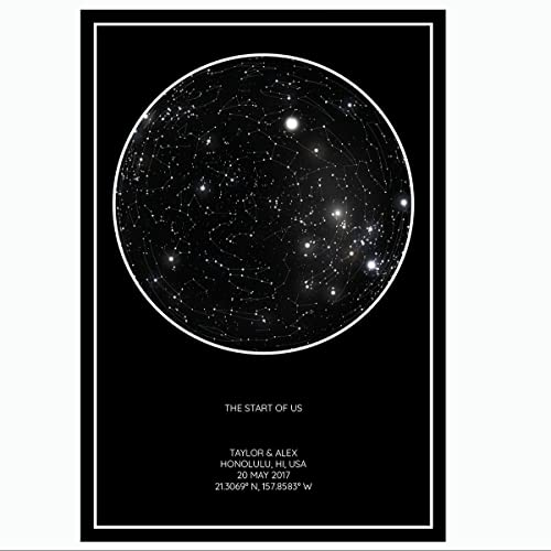 Amazon.com: Personalized Star Constellation Map, Minimal and Clean ...