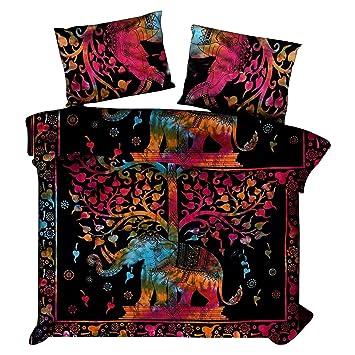 7b72c12ec0b653 Psychedelische Elefant Baum des Lebens Elefant Tröster Tie Dye Bettbezug  Doppel Bettwäsche werfen indische Bettbezug