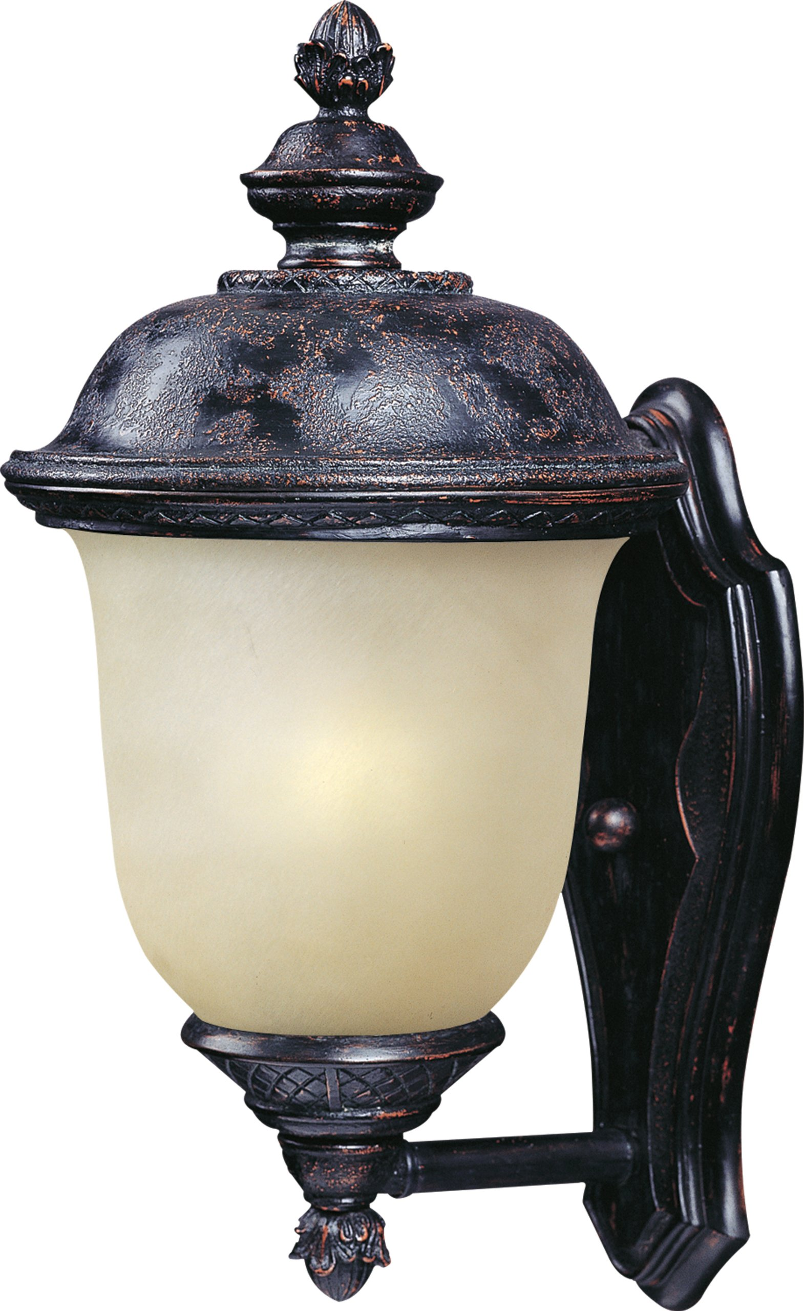 Maxim 86522MOOB Carriage House EE 1-Light Outdoor Wall Lantern, Oriental Bronze Finish, Mocha Glass, GU24 Fluorescent Fluorescent Bulb , 60W Max., Damp Safety Rating, Standard Dimmable, Glass Shade Material, 1344 Rated Lumens