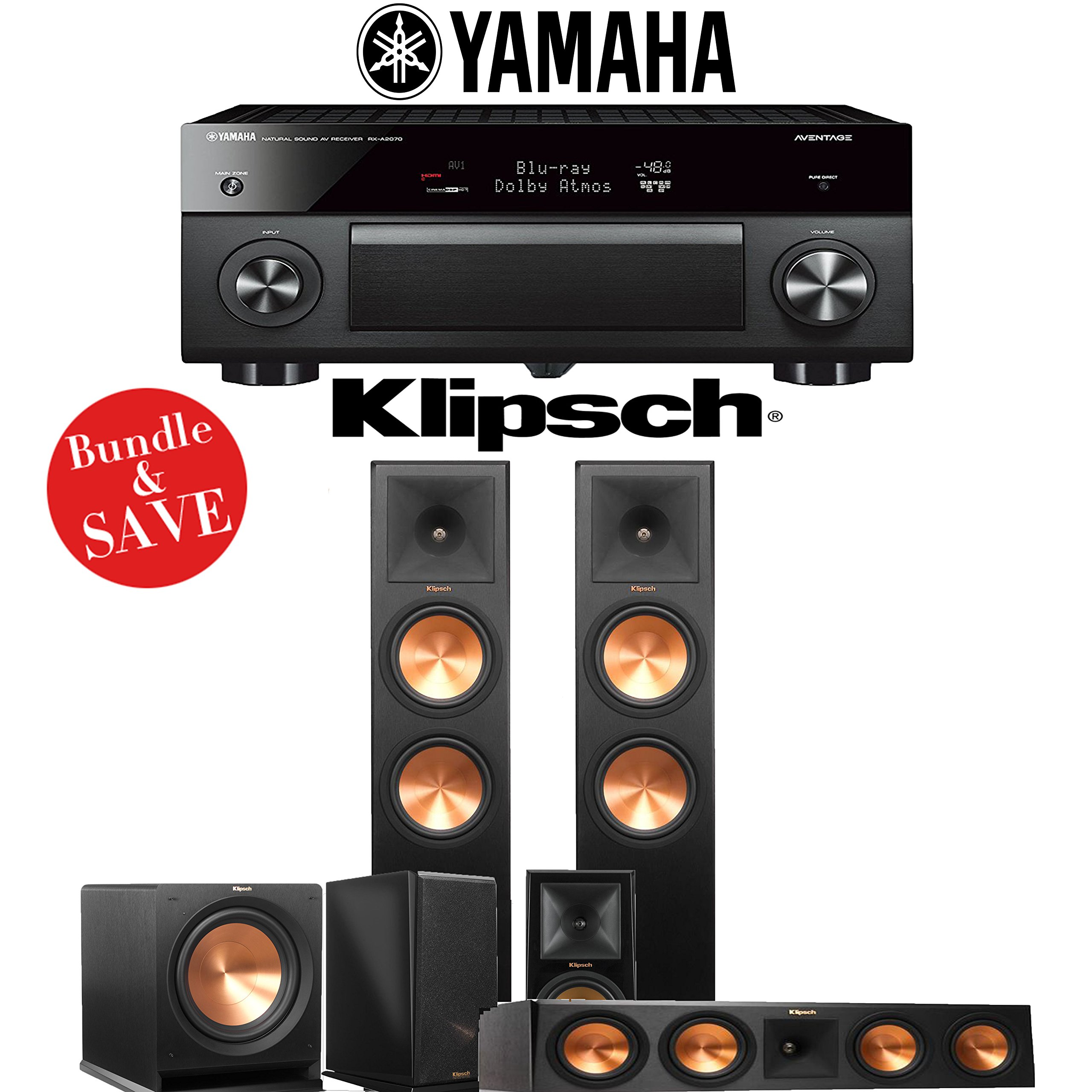 Klipsch RP-280F 5.1-Ch Reference Premiere Home Theater System with Yamaha AVENTAGE RX-A2070BL 9.2-Channel Network A/V Receiver