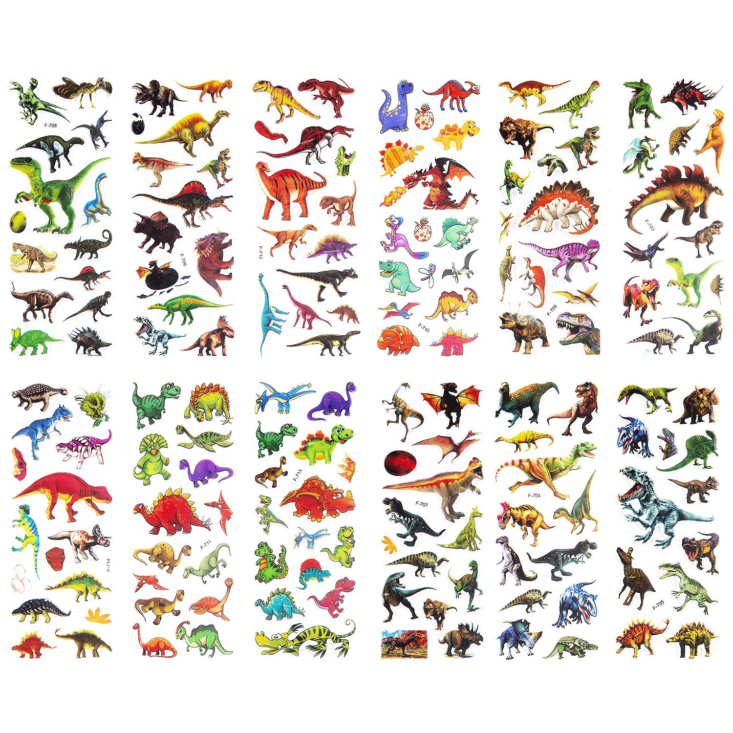 SAVITA 3D Puffy Stickers for Kids & Toddlers(300+ pcs), 24 Sheets Stickers for Reward Scrapbook Dinosaur-Themed Birthday Party Favors