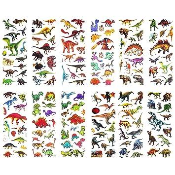 SAVITA Pegatinas de dinosaurio Pegatinas hinchadas en 3D para niños 300+ 24 hojas de adhesivos para el libro de recuerdos de recompensas Haciendo ...