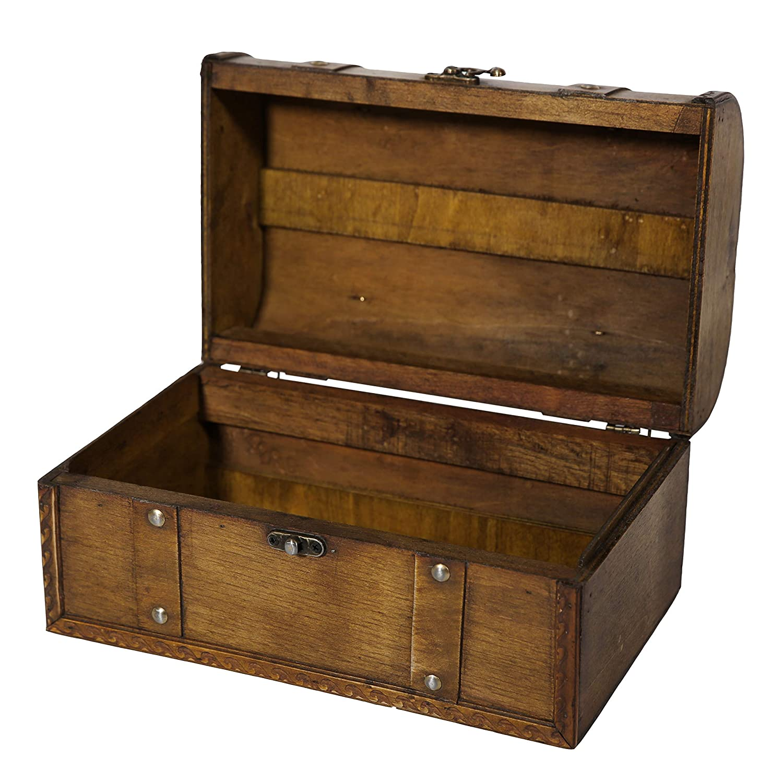 Soul /& Lane Amelia Decorative Wooden Storage Box Suitcase Shaped Chest Trunk Styled for Vintage Antique D/écor