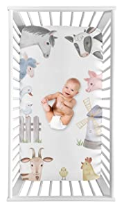Sweet Jojo Designs Farm Animals Boy or Girl Fitted Crib Sheet Baby or Toddler Bed Nursery Photo Op - Watercolor Farmhouse Horse Cow Sheep Pig