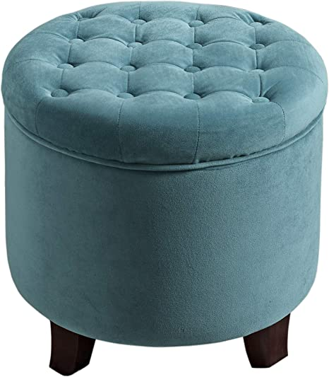 Homepop By Kinfine Fabric Upholstered Round Storage Ottoman Velvet Button Tufted Ottoman With Removable Lid Teal Furniture Decor
