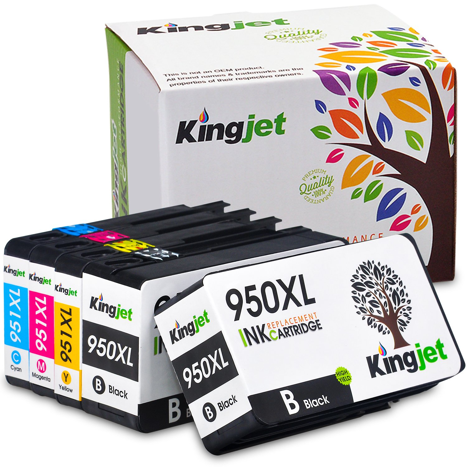 Kingjet Compatible Ink Cartridge Replacement for 950XL 951XL Work with Officejet Pro 8100 8600 8610 8615 8620 8625 8630 Printers, (1Set+1BK) with Updated Chips by Kingjet (Image #1)