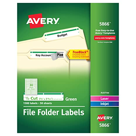 Avery Green File Folder Labels For Laser And Inkjet Printers With TrueBlock Technology 2