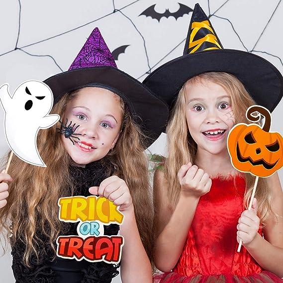 CHSYOO 22 x Photo Booth Photo Booth Atrezzo M/áscara de bigote Labios de arco Sombrero Gafas para Halloween Cumplea/ños Fiesta infantil