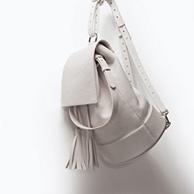 fcd8d9fb94 Zara White Leather Look Tassel Backpack Rucksack Womens Bag: Amazon ...