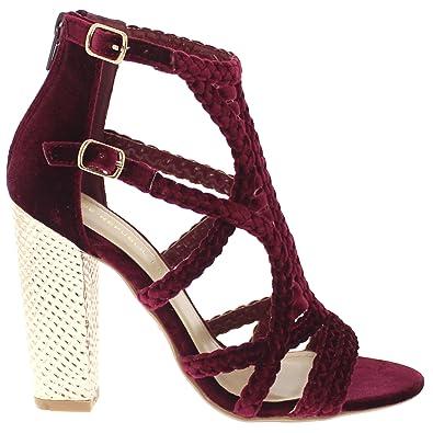5a11050487f Shoe Republic Soft Velvet Caged Sandal w Shiny Block Heel Kurry Red Size  11