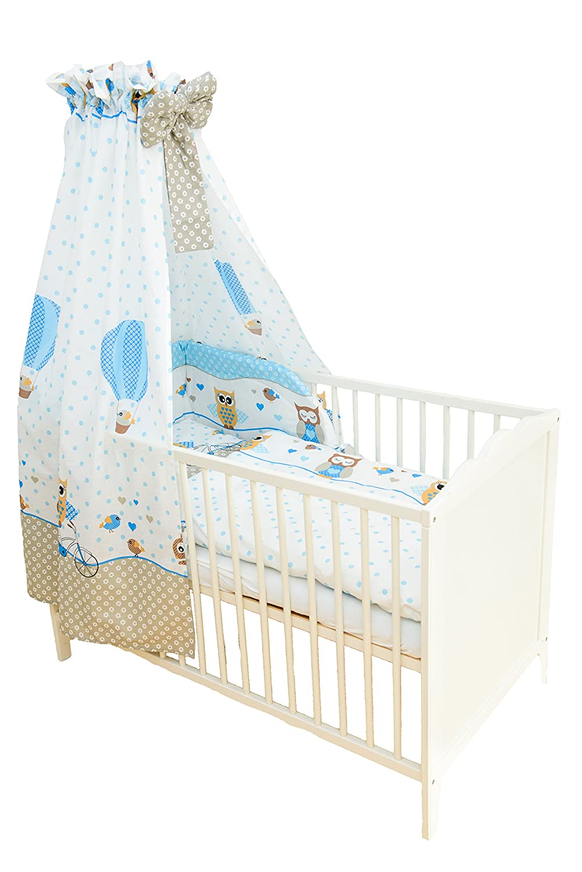 SWADDYL Kinderbettgarnitur 5 teilig, Bettwä sche Set (Kissen, Decke, Bettlaken) I Himmel I Nestchen, Bettset fü r Babybett (Blau) Eule