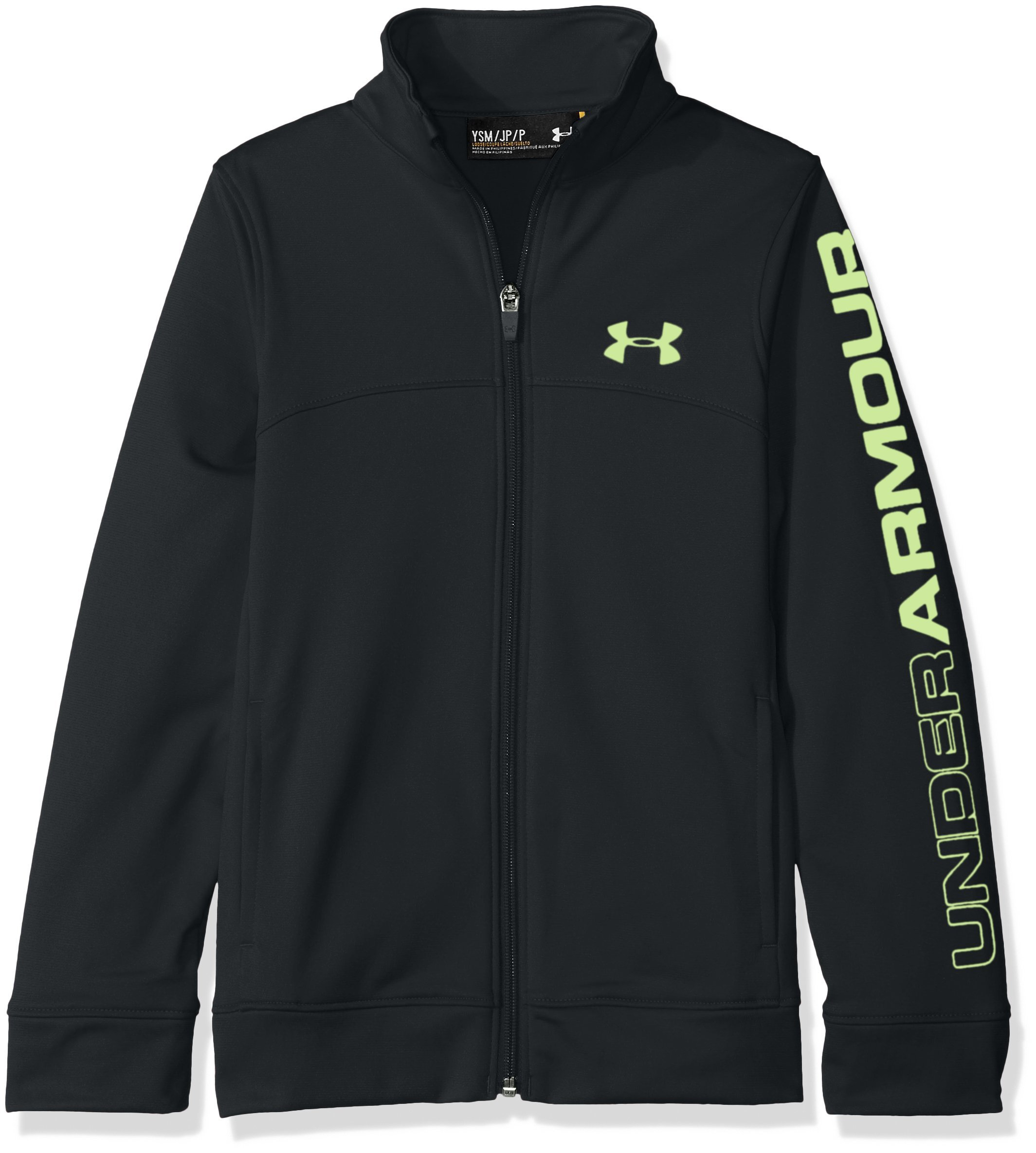 Under Armour Boys' Pennant Warm Up Jacket,Anthracite (016)/Quirky Lime, Youth X-Small