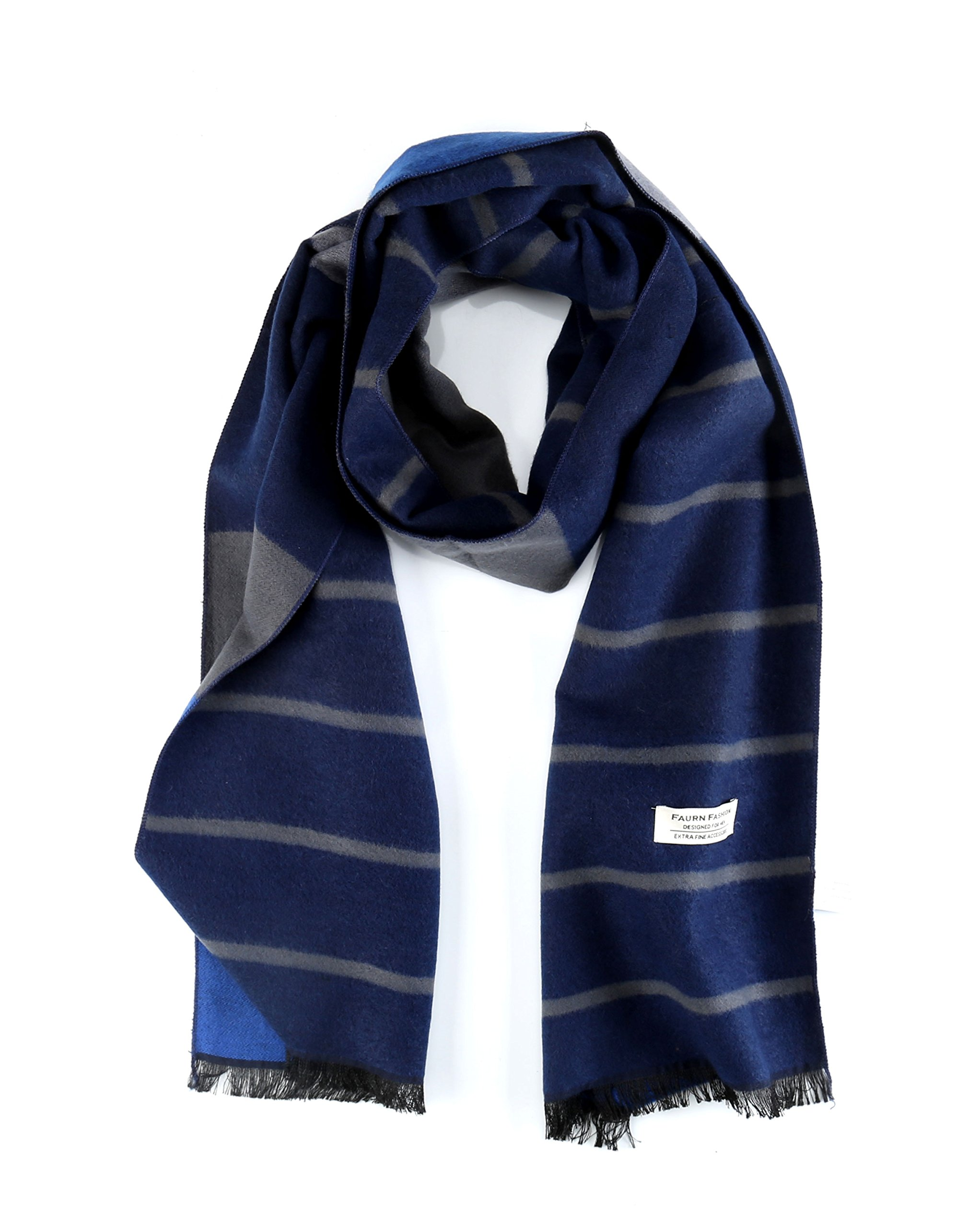 Mens Winter Scarf, Faurn Fashion Plaid Stripes Long Cashmere & Pashmina Feel Warm Neck Scarves Blue Stripes