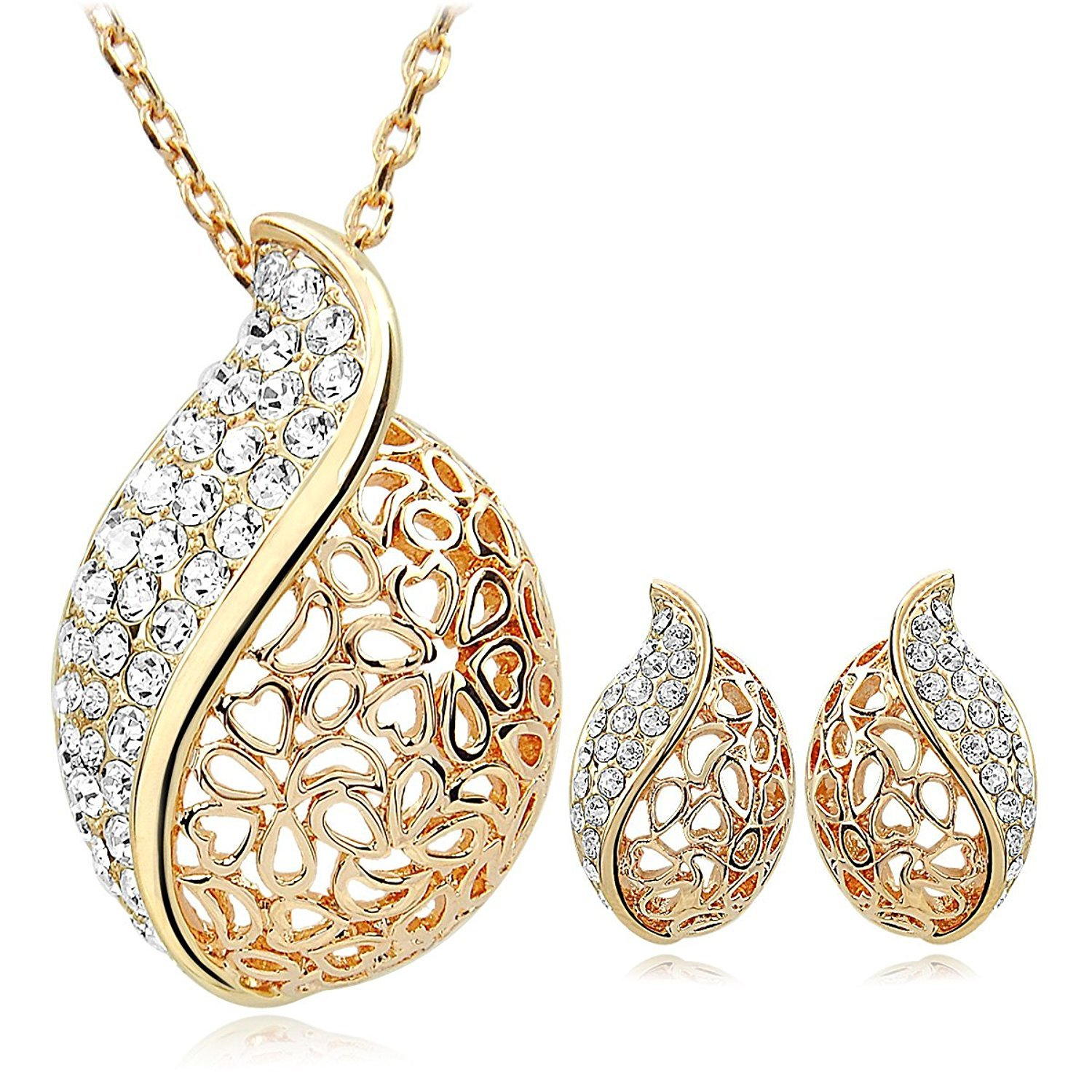 Buy kundaan 24k gold plated crystal pendant necklace set with stud buy kundaan 24k gold plated crystal pendant necklace set with stud earring for womengirls online at low prices in india amazon jewellery store amazon aloadofball Choice Image