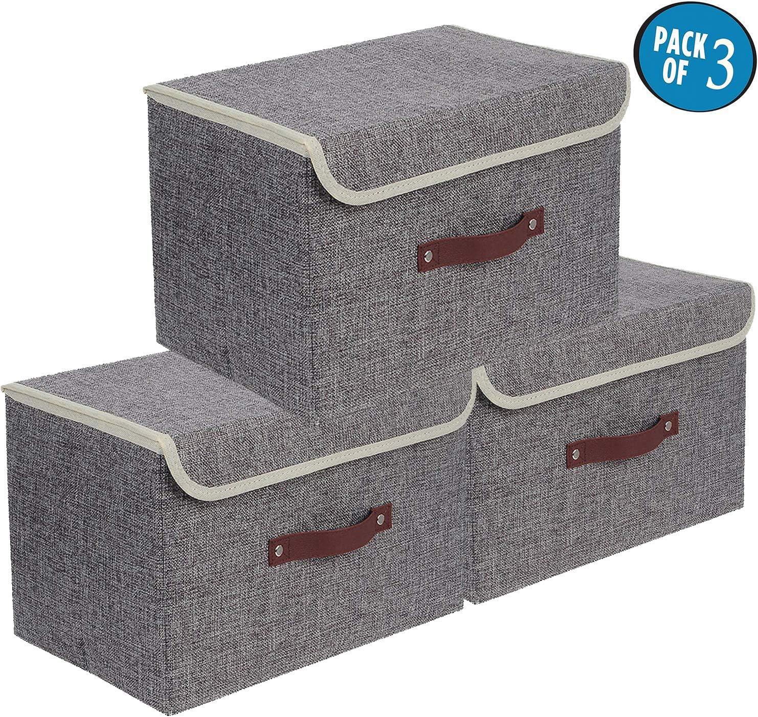 E-MANIS Cajas de almacenaje,Cajas de Almacenamiento con Tapas,Set de 3 Organizadores de Juguetes,Ropa y Libros para Dormitorios y Estanterías (Gris)