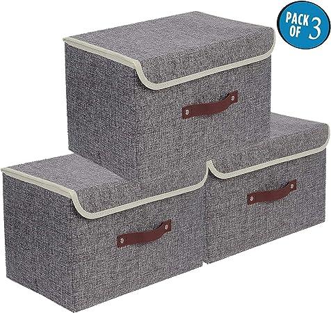 Cajas de almacenaje,Set de 3 Cajas de Almacenaje Cubos de Tela ...