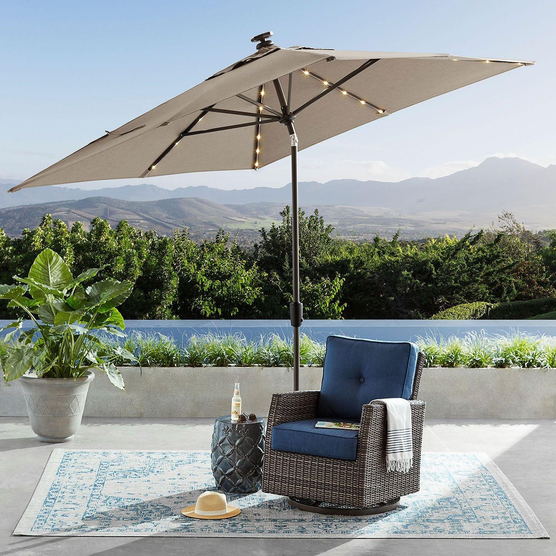 SUNBRELLA Outdoor Adjustable Tilt 8' x 10' Solar Lighted Market Umbrella (Cast Shale) by RGS Sales