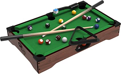 Mini Table Top Pool Table with Cues, Triangle and Chalk 1: Amazon ...