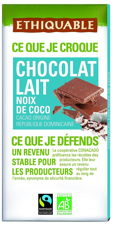 Ethiquable Chocolate Leche y Coco Bio - 100 gr: Amazon.es: Alimentación y bebidas
