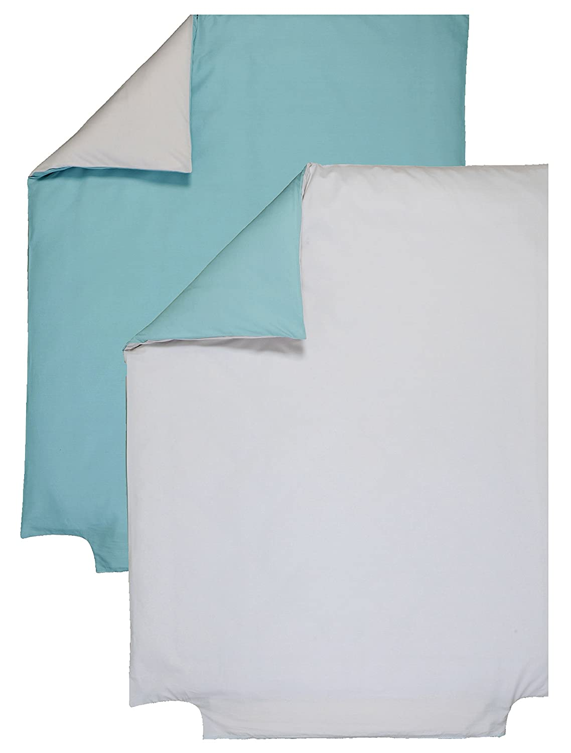 P 'tit Basile - Two-Tone Reversible Duvet Cover for cot bed / toddler bed - Size 120x150 cm - grey/Turquoise - High Quality soft Organic Cotton - 57 Thread Count for Extra Comfort. P'tit Basile