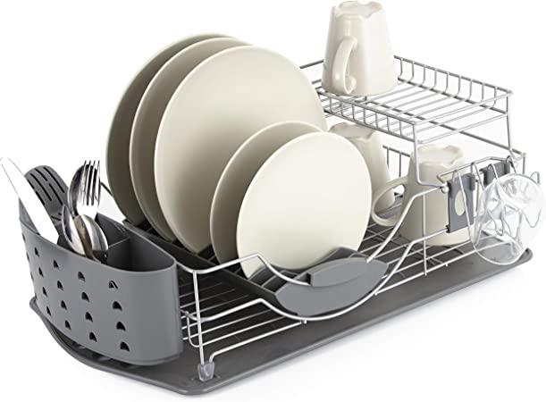 Tower Compact 2 Tier Dish Rack With Cutlery Drainer Removable