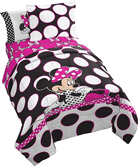 Amazon Com Disney Minnie Mouse Dots Are The New Black 5 Piece Twin Bed In A Bag Home Kitchen