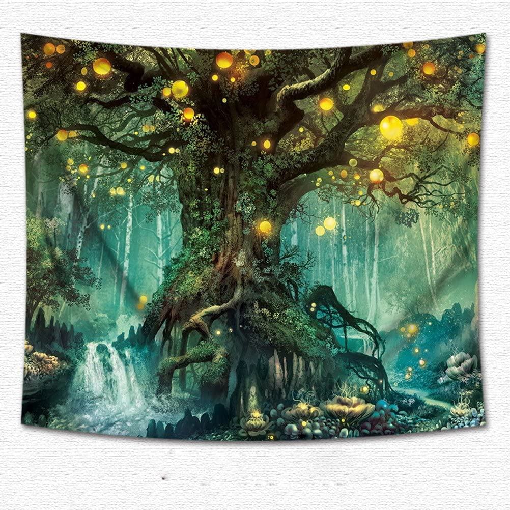 WSHINE Tree of Life Enchanted Forest Mystical Lights Wall Tapestry Home Decortion Children's Room Decor Blanket
