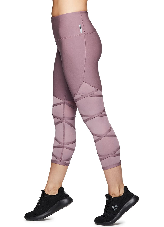 Fall1 Purple Medium RBX Active Women's Striated Layered Print Capri Legging