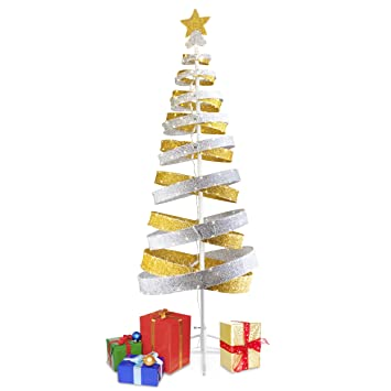 mr christmas 6 foot spiral silver and gold metallic tree