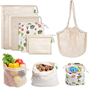 AivaToba Reusable Produce Bags - Eco Friendly Organic Cotton Mesh Grocery Produce Bags - Machine Washable, Tare Weight on Label, Set of 9 for Vegetable Shopping & Storage