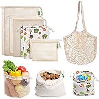 9 bolsas reutilizables para productos – AivaToba de malla de algodón con cordón lavable para compras de comestibles…