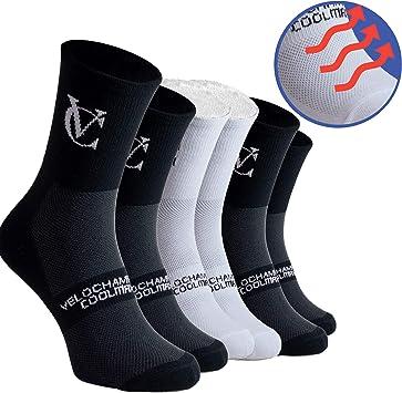 Cycling Socks VeloChampion Calze da Ciclismo Speed Line Coolmax - Nero o Bianco Confezione da 3
