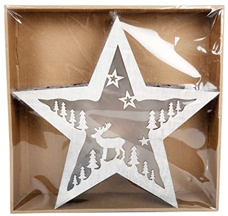 Battery Operated Illuminated Wooden Christmas Light Up Star Box