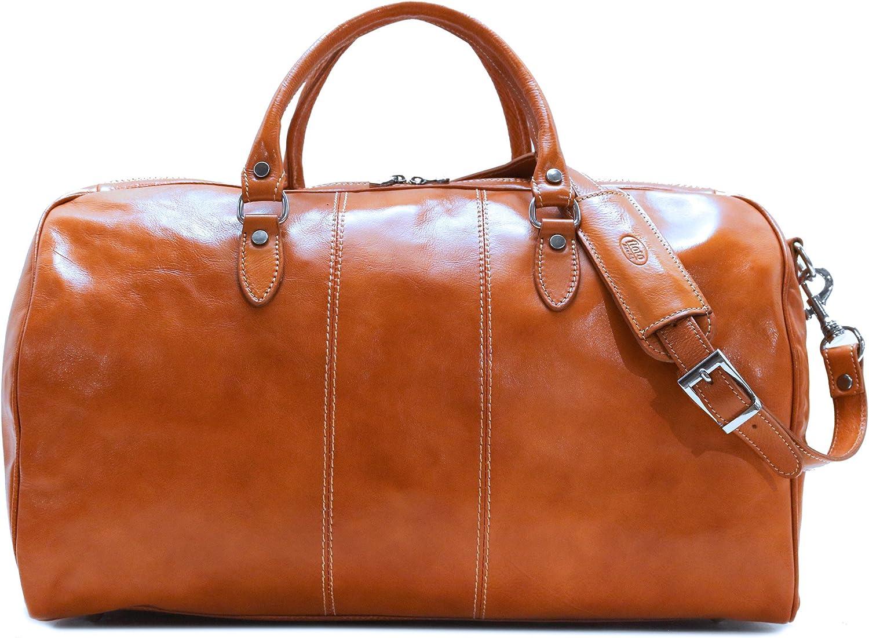 Floto Venezia Duffle Olive Honey Brown Italian Leather Weekender Travel Bag
