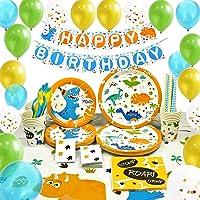 WERNNSAI Dinosaur Party Supplies Set - Dinosaur Themed Party Decoration for Boys Kids Birthday Cutlery Bag Table Cover…